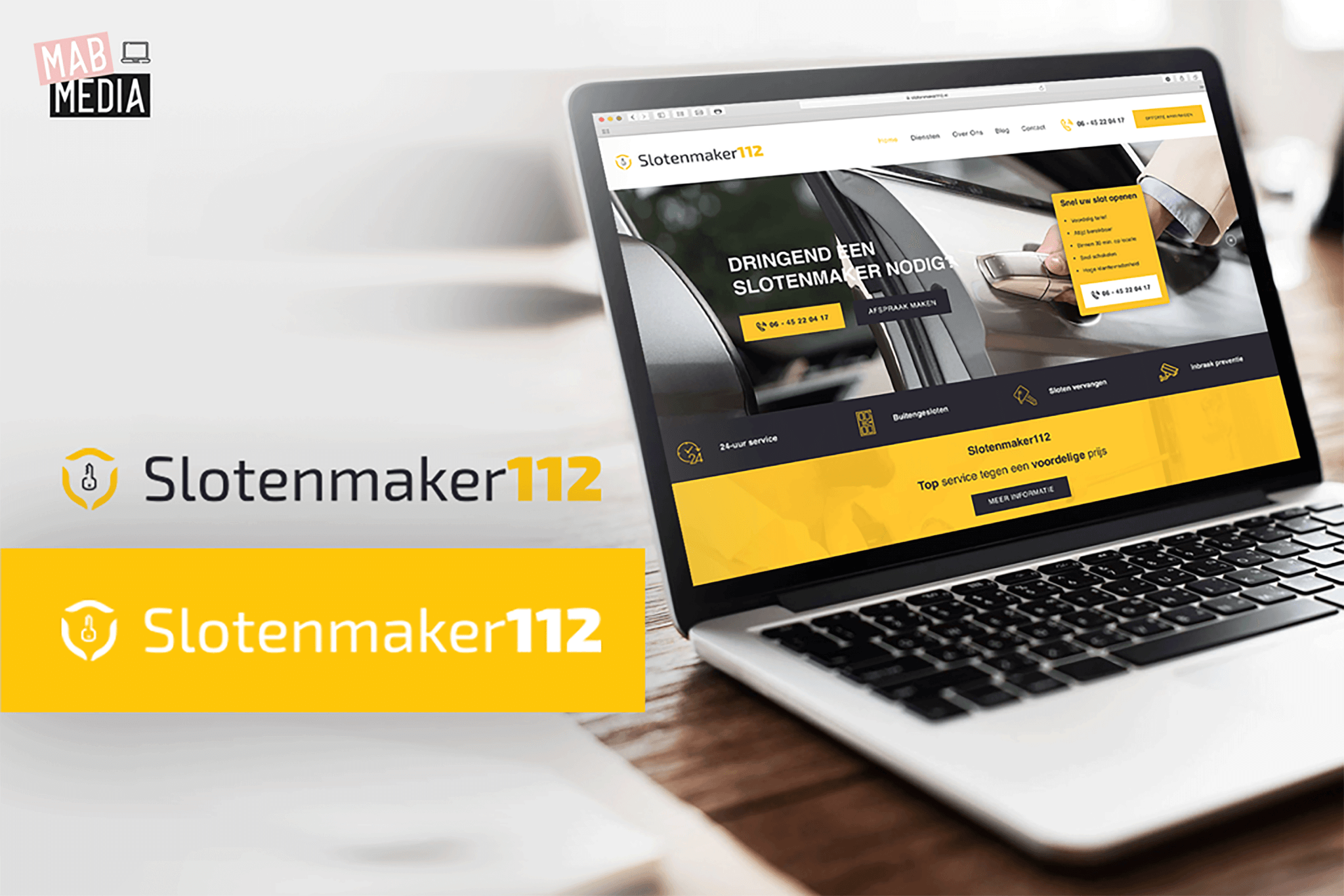 MAB Media Portfolio project website design en logo ontwerp Slotenmaker112
