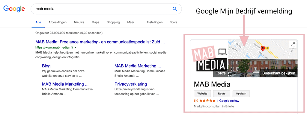 Google Mijn Bedrijf vermelding MAB Media Brielle Marketingbureau