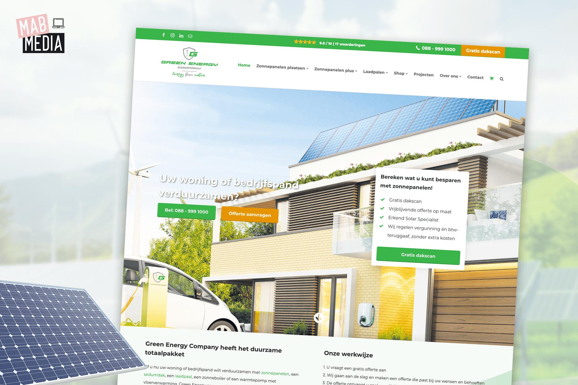 MAB Media Portfolio project website ontwikkeling Green Energy Company
