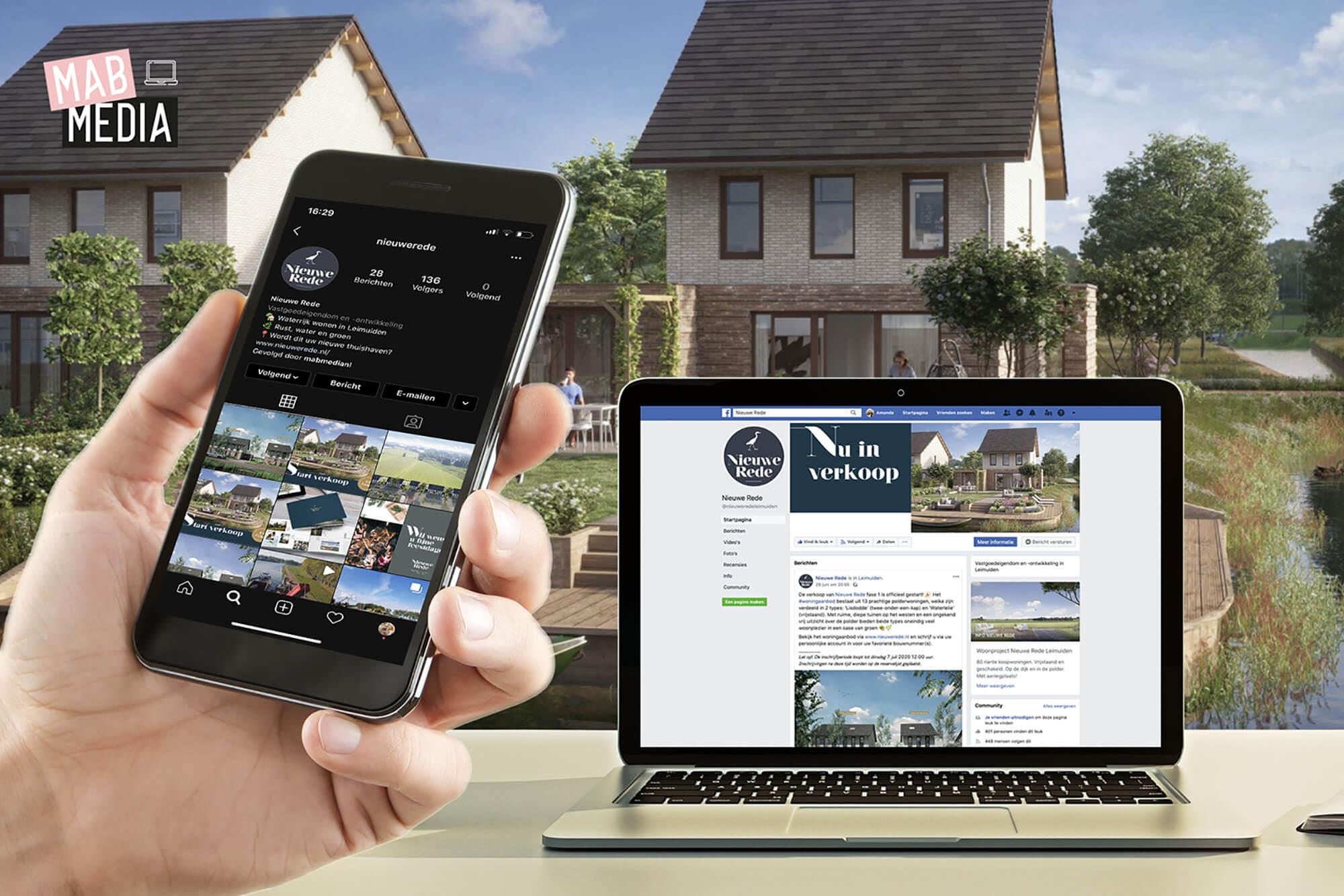 Social media onderhoud woonproject Nieuwe Rede in Leimuiden door MAB Media